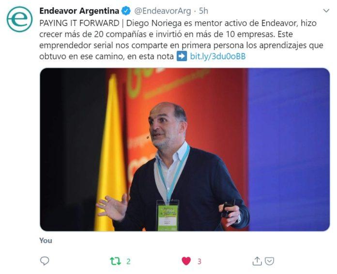 Publicación Endeavor Argentina: Escalar empresas que inspiren by Diego Noriega - Twitter